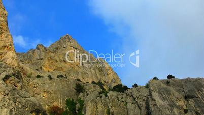 Clouds float in Crimean mountains.  time lapse.
