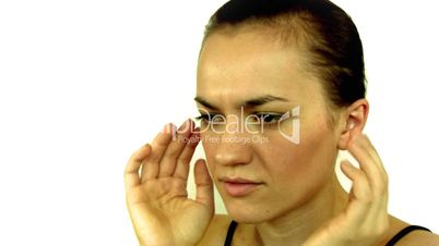 young woman having headache and massaging her head