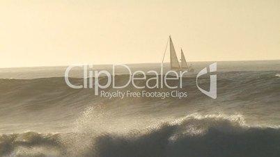 Sailboat in sea storm