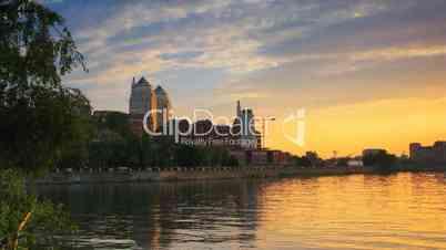 City time lapse on sunset.