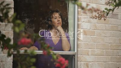 Woman Window rain