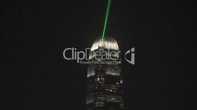 Laser light off skyscraper