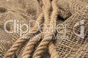 Rope on sacking.