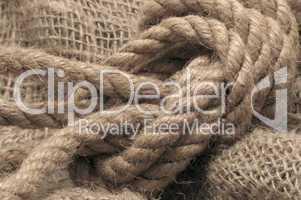Rope on sacking.