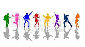 Silhouetten von tanzenden Menschen