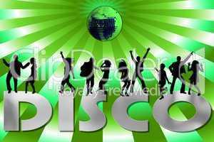 grüner DISCO Hintergrund mit Silhouetten