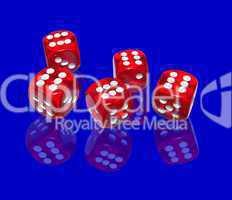 Hintergrund mit roten Casino-Würfeln