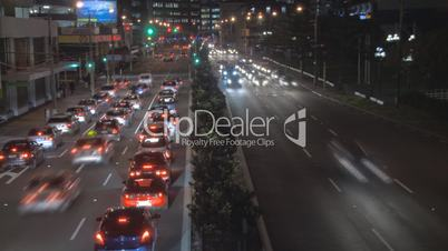 Nighttime rush hour traffic time lapse