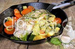 Putenfile und Gemüse in einer Pfanne