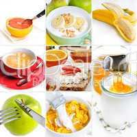 Gesundes Frühstück Collage