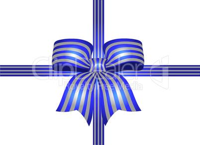 blaue schleife mit silbernen streifen