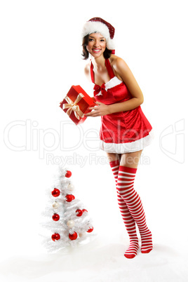 Weihnachtsfrau mit Baum 5