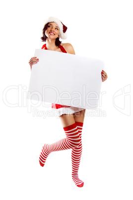 Weihnachtsfrau mit Schild 2