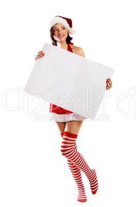 Weihnachtsfrau mit Schild 3