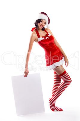 Weihnachtsfrau mit Schild 6