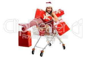 Einkaufskorb mit Weihnachtsfrau 2