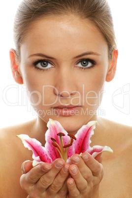 Frau mit Blüte 13