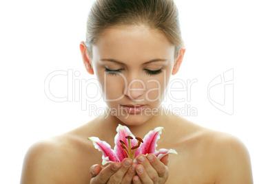 Frau mit Blüte 14