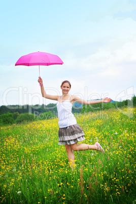 Frau mit Regenschirm 3