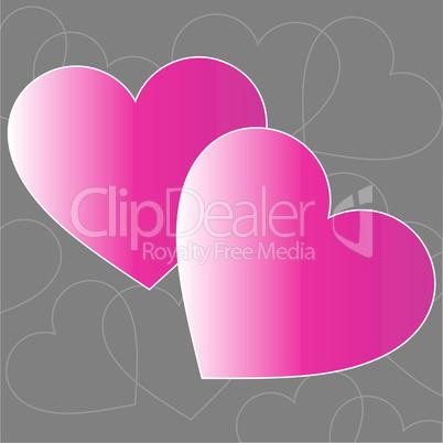 hearts pink gray