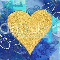 Golden heart on blue background
