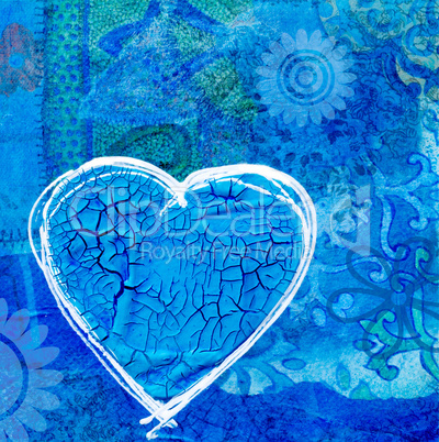 Blue heart on collage background