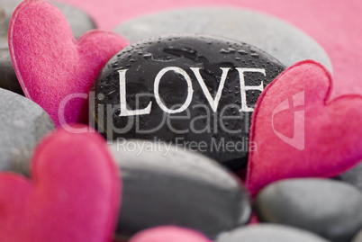 pink heart with stone