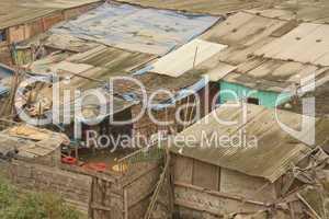 Hütten in Slums in Lima