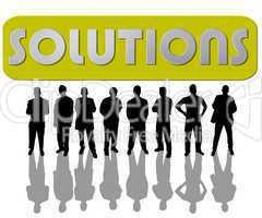 Geschäftsleute mit Motivations-Slogan Solutions