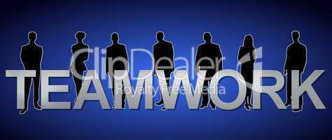 """Geschäftsleute mit Motivations-Slogan """"Teamwork"""""""