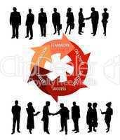 Geschäftsleute mit Motivations-Kreislauf