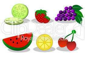stilisierte Grafiken Obst freigestellt