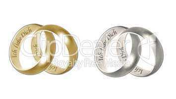 verbundene goldene und silberne Trauringe