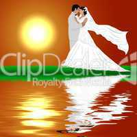 Brautpaar am Wasser im Sonnenuntergang
