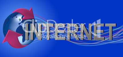 Internet Logo mit blauem hintergrund