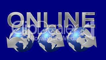 Online Logo blauer Hintergrund
