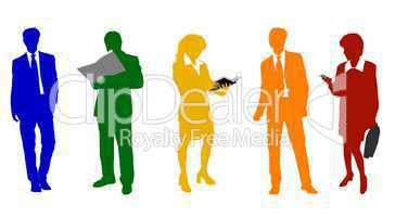 Geschäftsleute Silhouetten freigestellt farbig