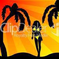 Bikini Girl Silhouette am Palmenstrand