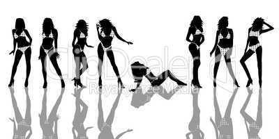 Bikini Girls Silhouetten