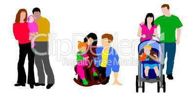 Familie grafik farbig