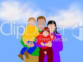 Familie unter freiem Himmel