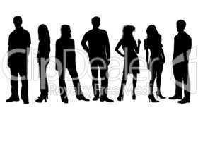 Junge Menschen Silhouetten s/w