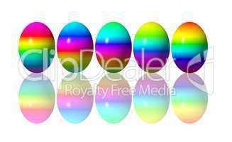 Ostereier mit Regenbogenfarben und Spiegeleffekt