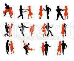 Sportler Silhouetten Tanzen