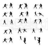 Sportler Silhouetten Fechten