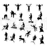 Sportler Silhouetten Fitness Bodybuilding