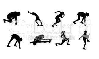 Sportler Silhouetten laufen rennen