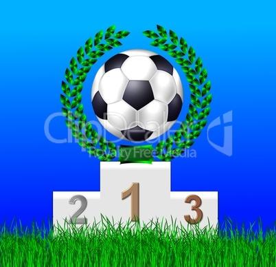 Fußball mit Lorbeerkranz auf Siegertreppchen
