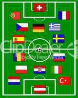 europäische Fahnen auf Fußballplatz