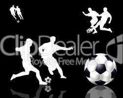 Hintergrund mit Fußballspieler Silhouetten